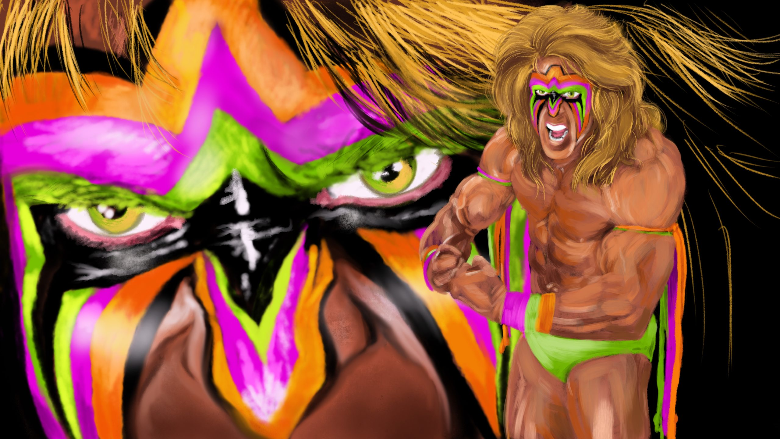The Ultimate Warrior: WWE Wrestling Procreate Painting Tutorial – Part 2