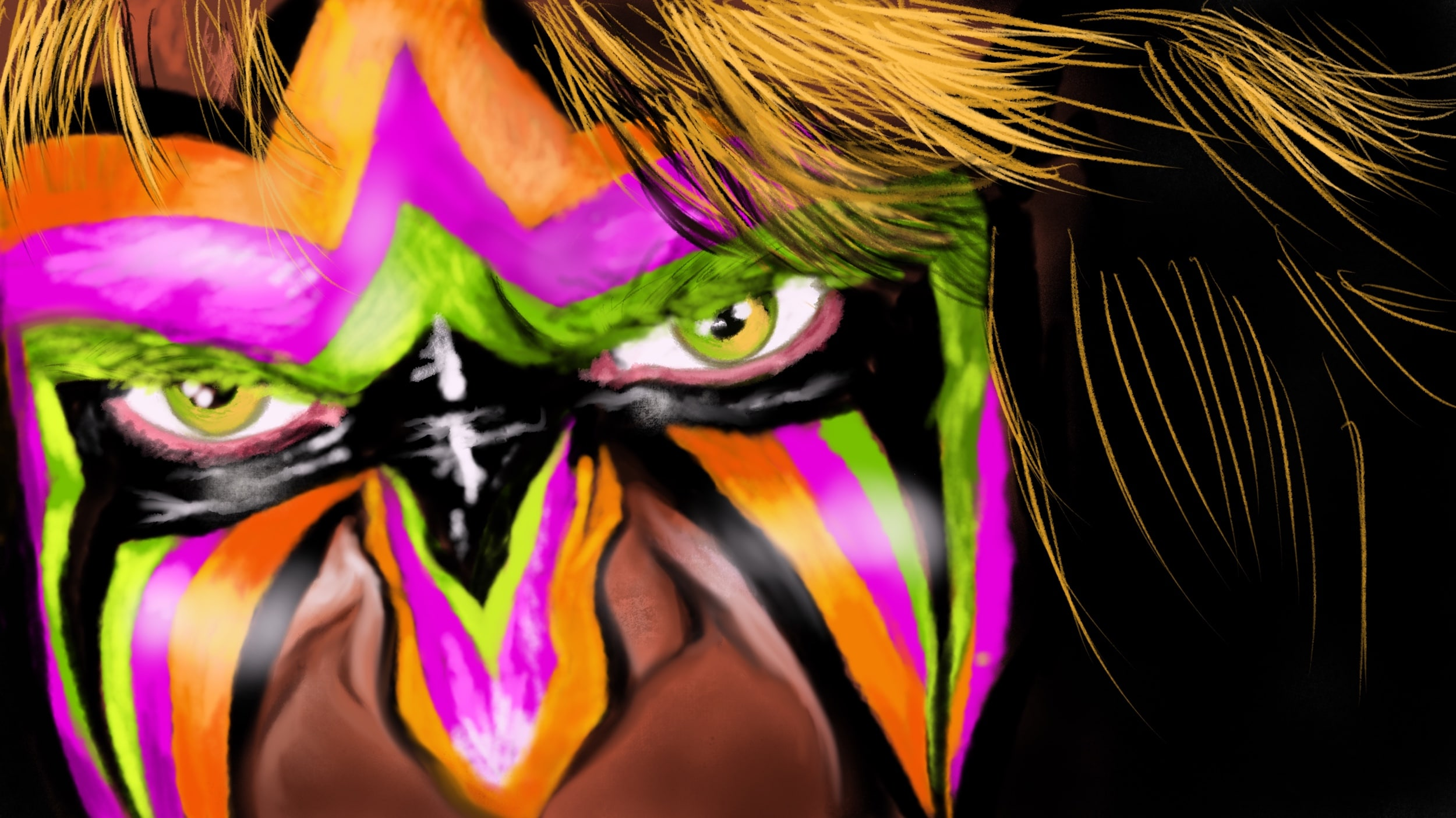 The Ultimate Warrior: WWE Wrestling Procreate Painting Tutorial – Part 1